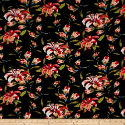 Telio Sirina Pebble Crepe Floral Black Fabric