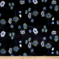 Telio Bouquet Knit Velvet Floral Embroidered Black/Blue Fabric