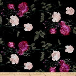 Telio Bouquet Knit Velvet Floral Embroidered Black/Pink Fabric