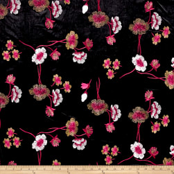 Telio Bouquet Knit Velvet Floral Embroidered Black/Red Fabric