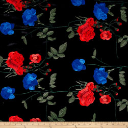 Telio Bouquet Knit Velvet Floral Embroidered Black/Royal