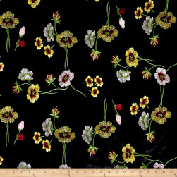 Telio Bouquet Knit Velvet Floral Embroidered Black/Yellow Fabric