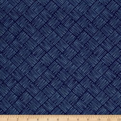 Tool Time Scratchy Squares Navy Fabric