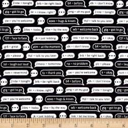 #Textme Back Chat Bubbles Black Fabric
