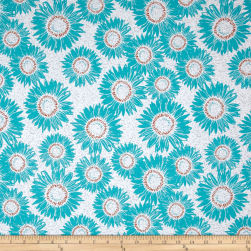 Makers Home Sunflower Turquoise Fabric