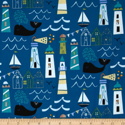 Seaside Harbor View Navy Fabric