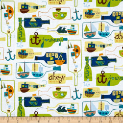 Seaside Message In A Bottle White Fabric