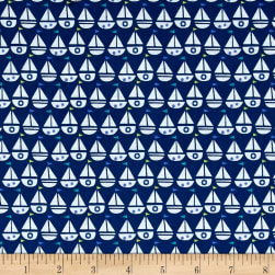 Seaside Sailboats Navy Fabric