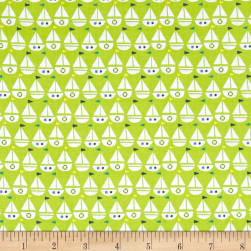 Seaside Sailboats Lime Fabric