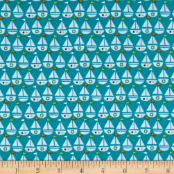 Seaside Sailboats Teal Fabric