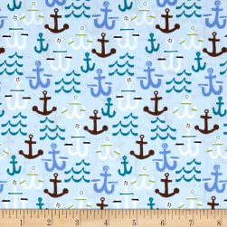 Seaside Anchors Light Blue Fabric