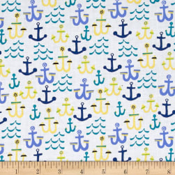 Seaside Anchors White Fabric