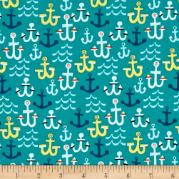 Seaside Anchors Teal Fabric