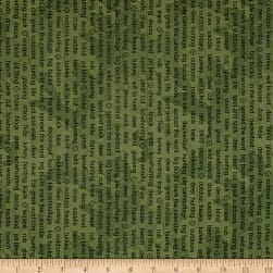 The Great Outdoors Words Green Fabric