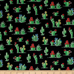 South Of The Border Cactus Black Fabric