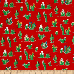 South Of The Border Cactus Red Fabric