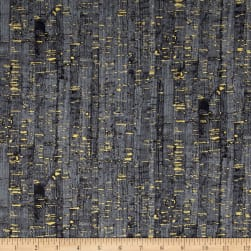 Uncorked Charcoal Metallic Gold Fabric