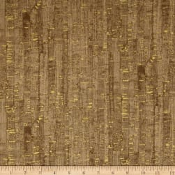 Uncorked Taupe Metallic Gold Fabric