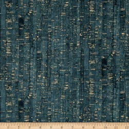 Uncorked Teal Metallic Gold Fabric
