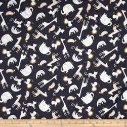 Wild About You Tossed Animals Charcoal Fabric