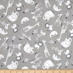 Wild About You Tossed Animals Grey Fabric