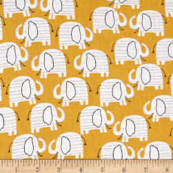 Wild About You Elephants Gold Fabric