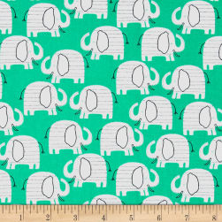 Wild About You Elephants Green Fabric