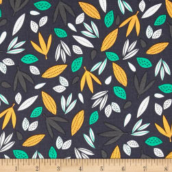 Wild About You Leaves Charcoal Fabric