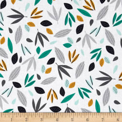 Wild About You Leaves White Fabric