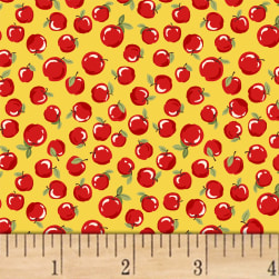 Little Red Riding Hood Apples Yellow Fabric