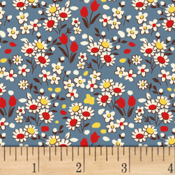 Little Red Riding Hood Flowers Blue Fabric
