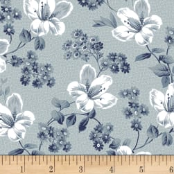Adele Tossed Blossoms Slate Fabric