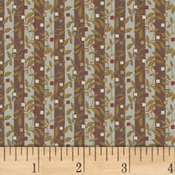 Larisa C.1870 Floral Stripe Brown Fabric