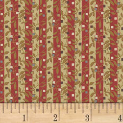 Larisa C.1870 Floral Stripe Ruby Fabric