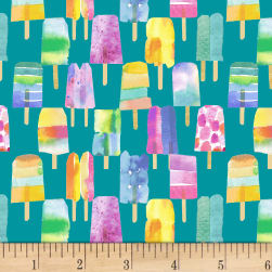 Sweet Treats Popsicle Blue Ice Fabric