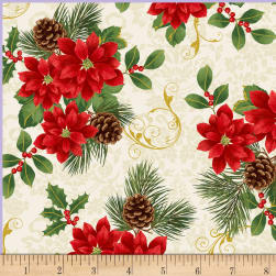 Deck The Halls Poinsettia Metallic Cream Fabric