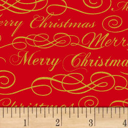 Deck The Halls Merry Christmas Metallic Red Fabric