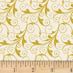 Deck The Halls Scrolls Metallic Cream Fabric