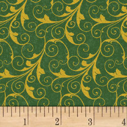 Deck The Halls Scrolls Metallic Green Fabric