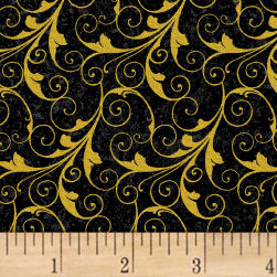 Deck The Halls Scrolls Metallic Black Fabric