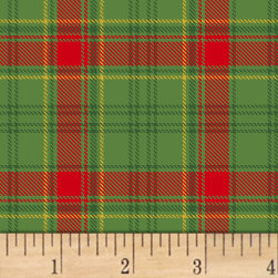 Deck The Halls Plaid Metallic Green Fabric