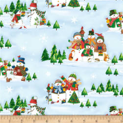 Winter Wishes Snowman Scenic Light Blue Fabric