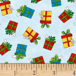 Winter Wishes Gifts Light Blue Fabric