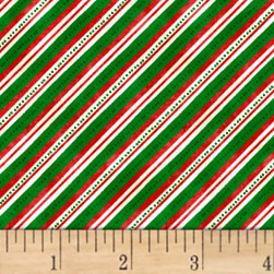 Winter Wishes Diagonal Stripe Green Fabric