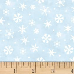 Winter Wishes Snowflakes Light Blue Fabric