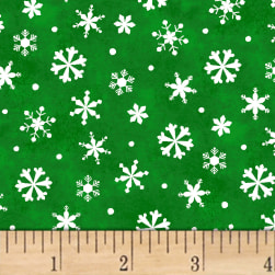 Winter Wishes Snowflakes Green Fabric