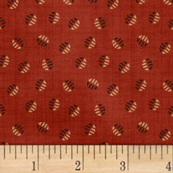 Farmhouse Living Striped Dot Red Fabric