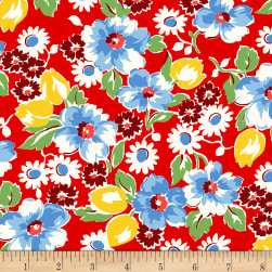 Sugar Sack Floral Red Fabric