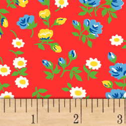 Sugar Sack Mini Floral Red Fabric