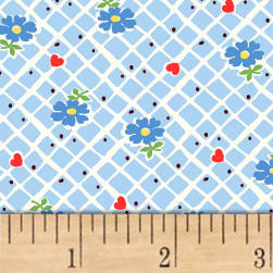 Sugar Sack Floral Check Blue Fabric